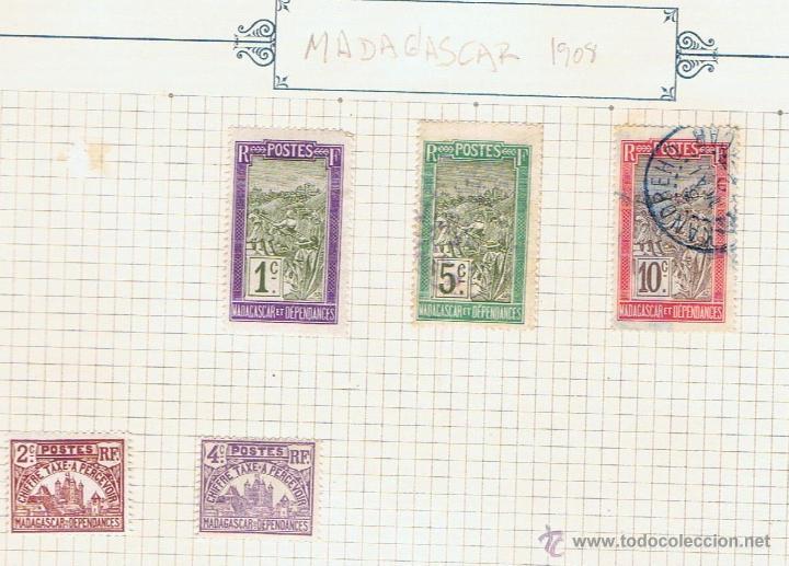 LOTE DE 5 SELLOS ANTIGUOS, 1908. NUEVOS Y CIRCULADOS DE MADAGASCAR Y DEPENDENCIAS. (Sellos - Extranjero - África - Madagascar)