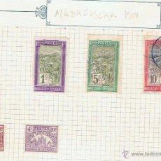 Sellos: LOTE DE 5 SELLOS ANTIGUOS, 1908. NUEVOS Y CIRCULADOS DE MADAGASCAR Y DEPENDENCIAS.. Lote 45834557