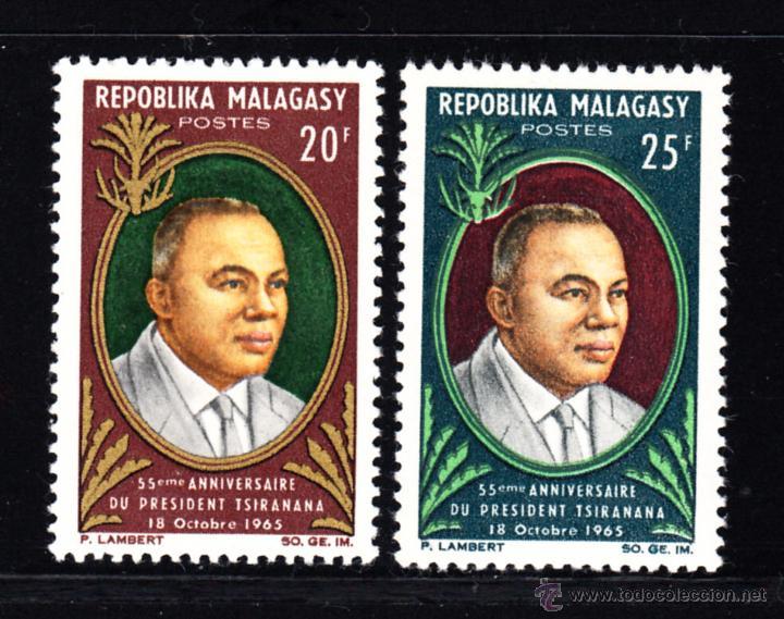 MADAGASCAR 408/09** - AÑO 1965 - 55º ANIVERSARIO DEL PRESIDENTE TSIRANANA (Sellos - Extranjero - África - Madagascar)