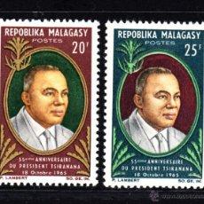Sellos: MADAGASCAR 408/09** - AÑO 1965 - 55º ANIVERSARIO DEL PRESIDENTE TSIRANANA. Lote 48971032