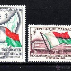 Sellos: MADAGASCAR 338/39** - AÑO 1959 - PROCLAMACIÓN DE LA REPUBLICA. Lote 191424436