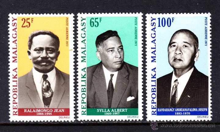 MADAGASCAR AÉREO 114/16** - AÑO 1971 - PERSONAJES (Sellos - Extranjero - África - Madagascar)