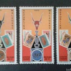 Sellos: SELLOS DE MADAGASCAR. SELLOS SOBRE SELLOS. YVERT 504/6. SERIE COMPLETA NUEVA CON CHARNELA.. Lote 53492627