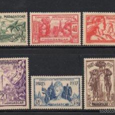 Sellos: MADAGASCAR 193/98** - AÑO 1937 - EXPOSICIÓN INTERNACIONAL DE PARIS. Lote 57758715
