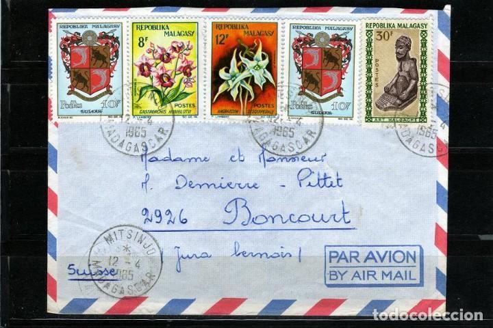 CARTA DE MADAGASCAR A BONCOURT SUIZA AÑO 1965 (Sellos - Extranjero - África - Madagascar)