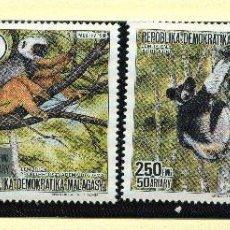Sellos: MADAGASCAR 1988 MI 1110A A 1113A 4 SELLOS MNH + 4 FDC + 4 TARJETAS MAXIMAS WWF. Lote 106680715