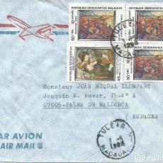 Sellos: 1986. MADAGASCAR. SOBRE CIRCULADO CON 4 SELLOS PINTURA/PAINTING. ARTE/ART. RENOIR. VAN GOGH.. Lote 112033523