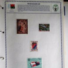 Sellos: MADAGASCAR, HOJA CON 5 SELLOS USADOS DIFERENTES CON CHARNELAS . Lote 116058531