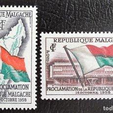 Sellos: MADAGASCAR. 338/39 PROCLAMACIÓN DE LA REPÚBLICA. BANDERAS. 1959. SELLOS NUEVOS Y NUMERACIÓN YVERT.. Lote 119441868