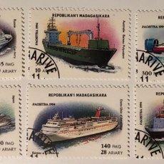 Sellos: LOTE DE 6 SELLOS CTO DE MADAGASCAR- BARCOS. Lote 152689881
