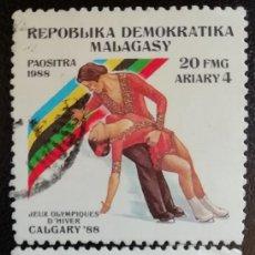 Sellos: 1988. DEPORTES. MADAGASCAR. 847, 849. JUEGOS OLÍMPICOS CALGARY. SERIE CORTA. USADO.. Lote 154670766