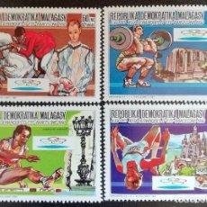 Sellos: 1987. DEPORTES. MADAGASCAR. 825 / 828. PRE-JUEGOS OLÍMPICOS BARCELONA. SERIE COMPLETA. NUEVO.. Lote 154672118