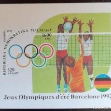 Sellos: 1992. DEPORTES. MADAGASCAR. HB 77. VOLEIBOL. JUEGOS OLÍMPICOS BARCELONA. NUEVO.. Lote 154674310