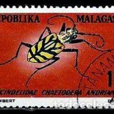 Sellos: MADAGASCAR SCOTT: 381-(1966) (ESCARABAJO TIGRE (CHAETODERA ANDRIANA) USADO . Lote 155994658