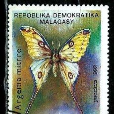 Sellos: MADAGASCAR SCOTT: 1081-(1992) (MARIPOSA: COMETA MOTH (ARGEMA MITTREI) USADO . Lote 155995030