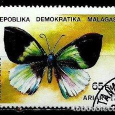 Sellos: MADAGASCAR SCOTT: 1082-(1992) (MARIPOSA: POLILLA (ALCIDES AURORA) USADO . Lote 155995246