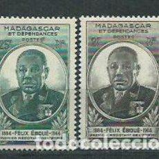 Sellos: MADAGASCAR - CORREO 1945 YVERT 298/9 * MH GENERAL EBOUÉ. Lote 156193394