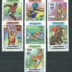 Sellos: MADAGASCAR - CORREO 1994 YVERT 1359/65 ** MNH DEPORTES. Lote 156194782
