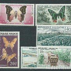 Sellos: MADAGASCAR - AEREO YVERT 78/83 * MH FAUNA MARIPOSAS. Lote 156195965