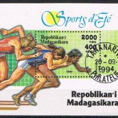 Sellos: [CF7697B] MADAGASCAR 1994, HB DEPORTES (CTO). Lote 166903168