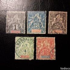 Sellos: MADAGASCAR FRANCÉS. LOTE DE 5 SELLOS SUELTOS USADOS. YVERT 28, 33, 35, 42A Y 43.. Lote 180214751