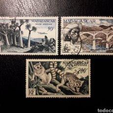 Sellos: MADAGASCAR FRANCÉS. YVERT A-75/7. SERIE COMPLETA USADA. ASPECTOS DE MADAGASCAR. PUENTES. LEMURES,.... Lote 180215360