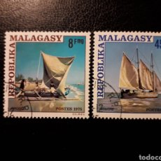 Sellos: MADAGASCAR YVERT 575/7 SERIE COMPLETA USADA. BARCOS. EMBARCACIONES LOCALES. Lote 184590897