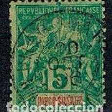 Sellos: DIEGO SUAREZ (MADAGASCAR) Nº 28 USADO (AÑO 1892). Lote 190067562