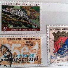 Sellos: MADAGASCAR, 3 SELLOS USADOS. Lote 191331330