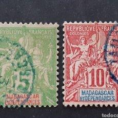Sellos: MADAGASCAR, YVERT 42A+43. Lote 194267450