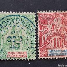 Sellos: MADAGASCAR, YVERT 42A+43. Lote 194267482