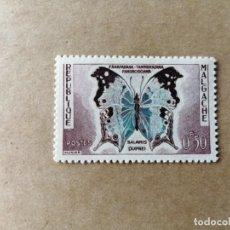 Sellos: REPUBLICA MALGACHE - MADAGASCAR - VALOR FACIL 0,50 - MARIPOSA SALAMIS DUPREI - IV 343. Lote 195421197