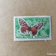 Sellos: REPUBLICA MALGACHE - MADAGASCAR - VALOR FACIL 0,40 F - MARIPOSA ACRAEA HOVA . Lote 195421522