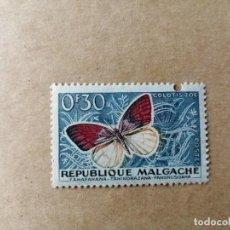 Sellos: REPUBLICA MALGACHE - MADAGASCAR - VALOR FACIL 0,30 F - MARIPOSA COLOTIS ZOE. Lote 195421751