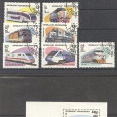 Sellos: MADAGASCAR 1993 TRAINS, SET+PERF.SHEET, USED AH.055. Lote 198273430