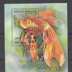 Sellos: MADAGASCAR 1994 FISH, PERF. SHEET, USED I.098. Lote 198273445