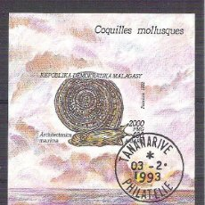 Sellos: MADAGASCAR 1993 MOLLUSCS, PERF. SHEET, USED AB.035. Lote 198273611