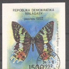 Sellos: MADAGASCAR 1992 BUTTERFLIES, IMPERF. SHEET, USED M.216. Lote 198274097