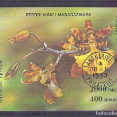 Sellos: MADAGASCAR 1993 ORCHIDS, PERF. SHEET, USED AB.033. Lote 198274127
