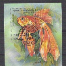 Sellos: MADAGASCAR 1994 FISH PERF. SHEET USED T.387. Lote 198274147