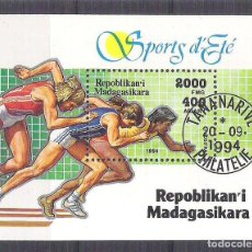 Sellos: MADAGASCAR 1994 SPORT, PERF. SHEET, USED AB.036. Lote 198274172