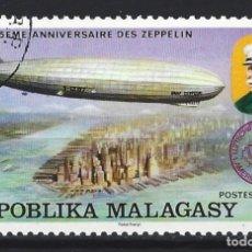 """Sellos: MADAGASCAR 1976 - 75º ANIVERSARIO DE ZEPPELIN - """"GRAF ZEPPELIN"""" SOBRE NUEVA YORK - SELLO USADO. Lote 208080520"""