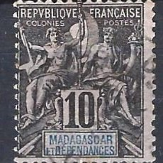 Sellos: MADAGASCAR 1896 - SELLOS DE FRANCIA SOBREIMPRESOS EN ROJO - SELLO USADO. Lote 208082995
