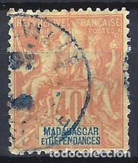 MADAGASCAR 1896 - SELLOS DE FRANCIA SOBREIMPRESOS EN ROJO - SELLO USADO (Sellos - Extranjero - África - Madagascar)