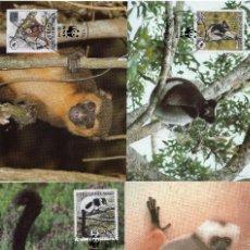 Sellos: MADAGASCAR SERIE TARJETAS MAXIMA PRIMER DIA 1988 MICHEL 1110 A 1113 WWF. Lote 215557772