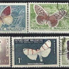 Timbres: MADAGASCAR 1960 - FAUNA, MARIPOSAS, S.COMPLETA - USADOS. Lote 215749031