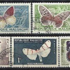 Sellos: MADAGASCAR 1960 - FAUNA, MARIPOSAS, S.COMPLETA - USADOS. Lote 215749091