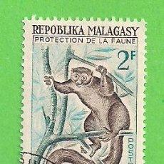Sellos: MADAGASCAR - MICHEL 467 - YVERT 357 - PROTECCIÓN DE LA VIDA SALVAJE, LEMUR. (1961). NUEVO MATASELLAD. Lote 218831505