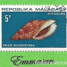 Sellos: MADAGASCAR - MICHEL 618 - YVERT 477 - MOLUSCOS - VOLUTA DELESSERTIANA. (1970). NUEVO MATASELLADO.. Lote 218832112
