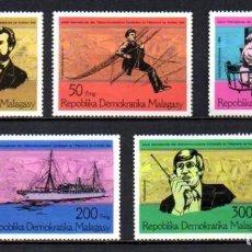 Sellos: MADAGASCAR 1976 - CENTENARIO DEL TELEFONO - YVERT Nº 585/589**. Lote 220984650